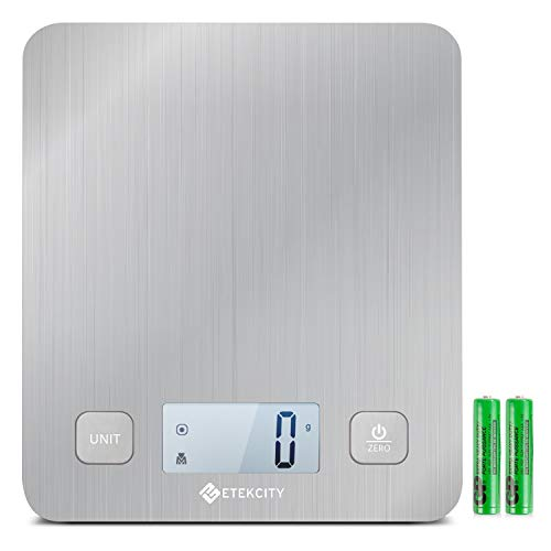 Etekcity EK6212 Kitchen Food Digital Scale Cooking Multifunction Weight Scale, Large Platform 11lb 5kg, Batteries Included (Stainless Steel)