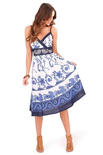 Plisado Vestido Swirl Floral Rodilla a para Pistachio Dama Blue Veraniego la wSIqSHF