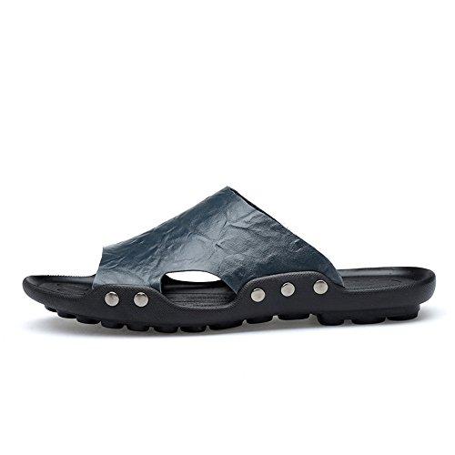 Messieurs En À Pour Cuir Occasionnels Véritables Flop De Les Chaussures Chaussures Bleus Sandales Hommes Antidérapantes De Semelles Sandales Hommes Plage Flip Pour 8Xw7I