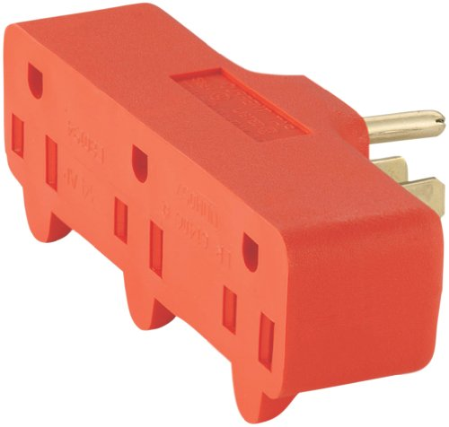Eaton 4402RN-BOX 15-Amp 2-Pole 2-Wire 125-Volt Single Receptacle to Three Outlet Cube Tap, Orange