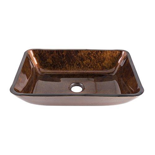 VIGO VG07089 Rectangular Russet Glass Vessel Bathroom Sink, 18