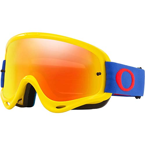 Oakley O Frame MX Adult Off-Road Motorcycle Goggles - Yellow Blue/Fire & Clear