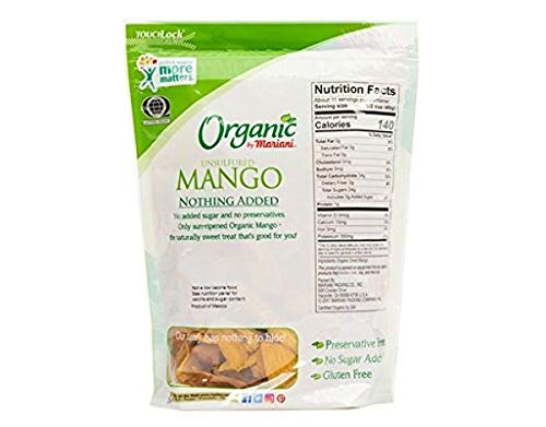 Mariani Organic Unsulfured Mango 16 oz - No Added Sugar and No Preservatives
