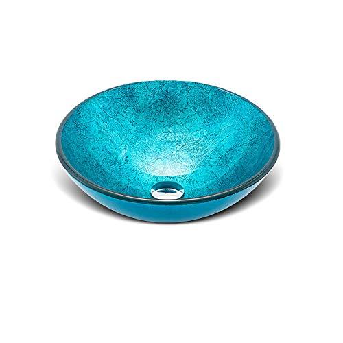 XMZFQ - Lavabo artístico de Cristal Templado, Color Azul ...