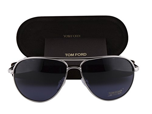 Tom Ford Marko FT0144 Shiny Rhodium w/Blue Gradient - Bond Sunglasses Ford Tom Men James