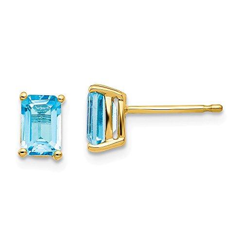 Emerald 14kt 6x4 Gold (Real 14kt Yellow Gold 6x4mm Emerald Cut Blue Topaz Earrings)