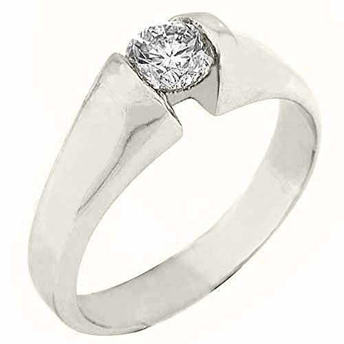 14k White Gold .50 Carats Solitaire Brilliant Round Diamond Tension Ring - Tension Round Ring Diamond Brilliant