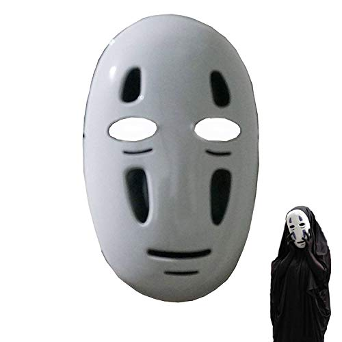 IDOXE Halloween Mask Spirited Away No-Face Faceless Ghibli Mask Cosplay Anime Costume White (Black)