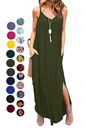 Kyerivs Women's Summer Casual Loose Dress Beach Cover Up Long Cami Maxi Dresses (Army Green, XL (18-20))