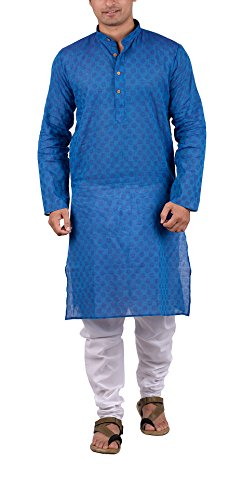 Indian Wedding Kurta - Maharaja Indian Mens Kurta Pyjama Set in 100% Pure Cotton for Daily and Festive Wear in Blue [MSKP004-44]