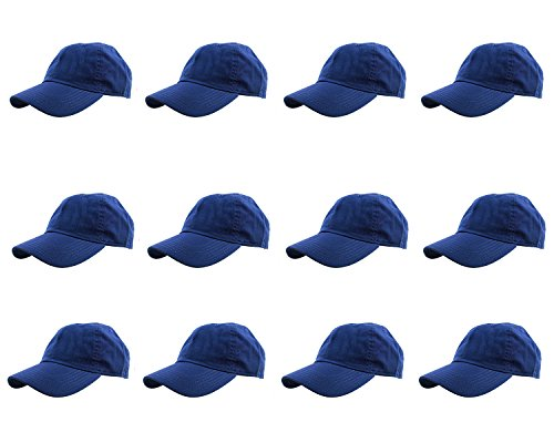 Gelante Baseball Caps 100% Cotton Plain Blank Adjustable Size Wholesale LOT 12 Pack - 1813 RoyalBlue]()