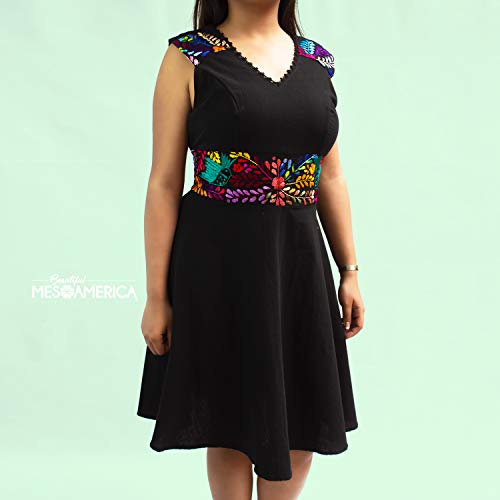 Women´s Traditional Stylized Mexican hand embroidered blanket dress Alison