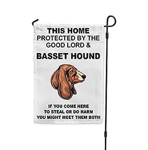 Casa protegido buen Señor Basset Hound perro Meet tanto Patio Casa Jardín bandera
