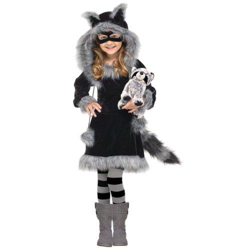 Fun World Costumes Baby Girl's Sweet Raccoon Toddler Costume, Black/Grey, Large (4- 6) (Raccoon Sweet)