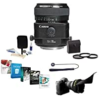 Canon TS-E 90mm f/2.8 Tilt and Shift Manual Focus Telephoto Lens USA - Bundle with 58mm Filter Kit, Lens Cap Leash, Professional Lens Cleaning Kit, Flex Lens Shade, Pro Software Package