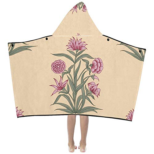 Liaosax Carnation Gift Pink Flower Soft Warm Cotton Blended Kids Dress Up Hooded Wearable Blanket Bath Towels Throw Wrap for Toddlers Child Girl Boy Size Home Travel Picnic Sleep ()