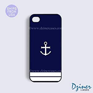 iPhone 4 4s Case - Blue White Anchor Pattern iPhone Cover