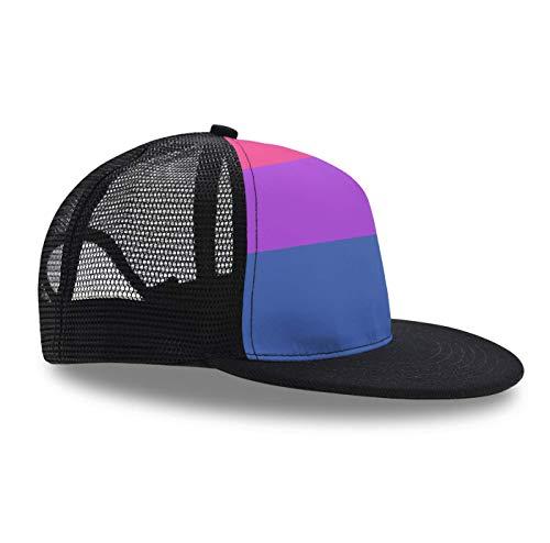 Plaid Pride Cap - Hip Hop Cap,Bisexual Pride Flag, Snapback Hat Unisex Trucker Hat Plaid Flat Bill Brim Adjustable Baseball Cap