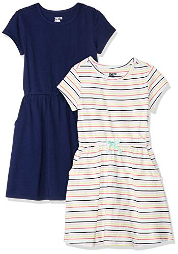 Spotted Zebra Big Girls' 2-Pack Knit Short-Sleeve Cinch Waist Dresses, Multi Stripe/Navy, Large (10)