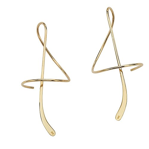 14k Yellow Gold Spiral Drop Earrings
