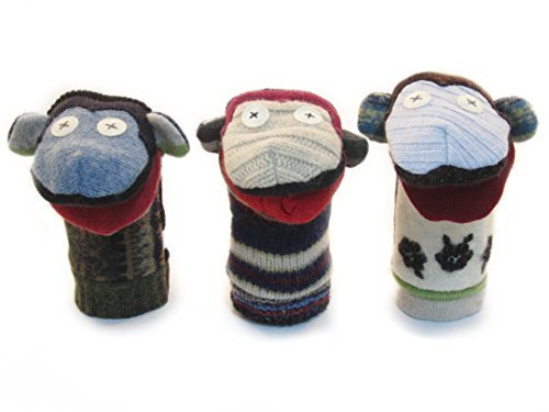 (Cate & Levi - Hand Puppet - Premium Reclaimed Wool - Handmade in Canada - Machine Washable (Monkey) )