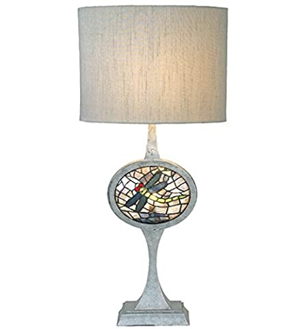 Cameo Dragonfly Stained Glass Lighted Base Table Lamp - Cameo Garden