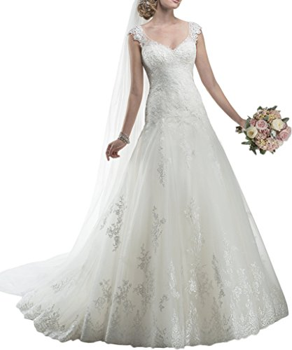 MILANO BRIDE V-neck Fit&Flare Floral Applique Classic Wedding Dress For Bride