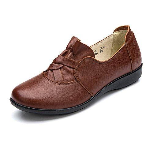A de de Zapatos profunda señoras del Zapatos tamaño plano Las Zapatos zapato mamá otoño del grande boca aFAF1