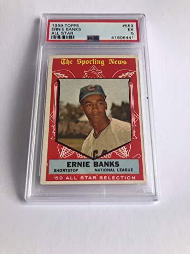 1959 Topps 559 Ernie Banks All Star Baseball Card PSA Graded EXCELLENT 5