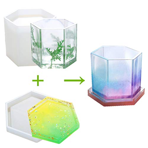 Hexagonal Prism Epoxy Resin Silicone Molds - DIY Pen Holder Mold & Silicone Coaster Molds Set, Clear Flower Pot Moulds for Casting Succulent Plants Pot and Many Other Art Craft, - Mould Silicone Rubber
