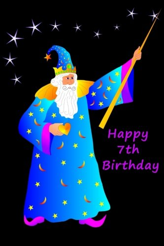 """Happy 7th Birthday: Blank Lined Paperback Book with Magician / Magic / Wizard Cover - 6"""" x 9"""" - 100 Pages - Notebook / Birthday Gift / Party Favor / ... / Guest Book / Journal / Classroom - Purple pdf epub"""