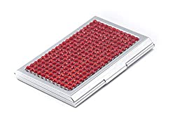 Red Bling Rhinestones Stainless Steel Business Card Case