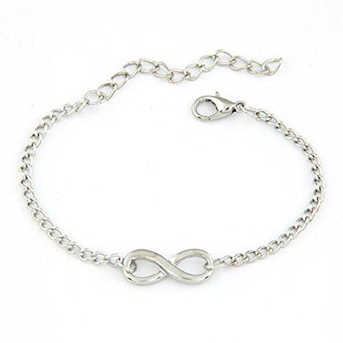 Leoy88 New Women Men Handmade Gift Charm 8 Shape Jewelry Infinity Bracelet (Silver) (Infinity Bracelet Cheap)