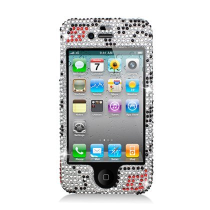 Aimo IPHONE4GPCLDI650 Dazzling Diamond Bling Case for iPhone 4 - Retail Packaging - Zebra Lips