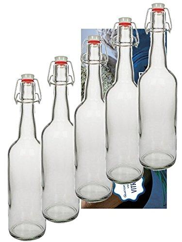 Vitrea Juego de 6 botellas de cristal con tapón mecánico, cierre de ...