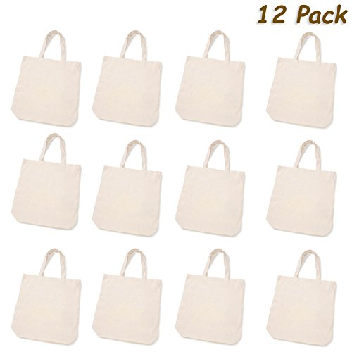 "(12 Large Canvas Tote Bag Party Favors Bags Bulk Crafts ""Design Your Own Party Favor Tote Bag"" Eco Tote - 100% Cotton - 15 x 16 x 4 inches, 12 Pack, By 4E's Novelty)"