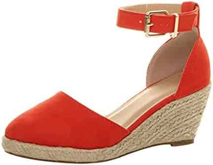 d64f679d6d Womens Wedge Sandals Ankle Strap Cap Toe Espadrille Wedge Sandal Platform  Heel Wedge Shoes Closed Toe