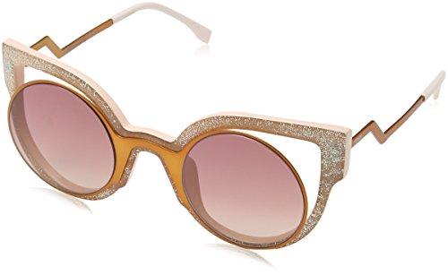 Fendi Pink Sunglasses (Fendi Women's Round Cutout Sunglasses, Orange Glitter Pink/Red, One Size)