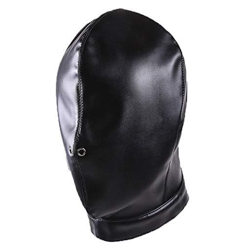 Aaijia Leather Halloween mask, Black Full Face Halloween Mask, Funny Breathable Head Hood, for Unisex Adult (Black) ()