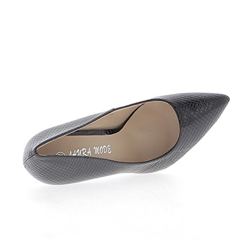 Mujer zapatos pintados negro 10.5 cm tacón aguda mirada serpiente