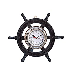 Deluxe Class Wood and Chrome Pirate Ship Wheel Clock 12 - Wood Ship Wheel Cloc