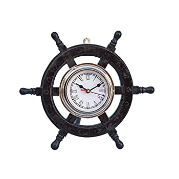 "Deluxe Class Wood and Chrome Pirate Ship Wheel Clock 12"" - Wood Ship Wheel Cloc"