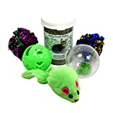Organic Catnip Set from Kitty Green with Jingle Balls, Crinkle Toys and Plush Mouse