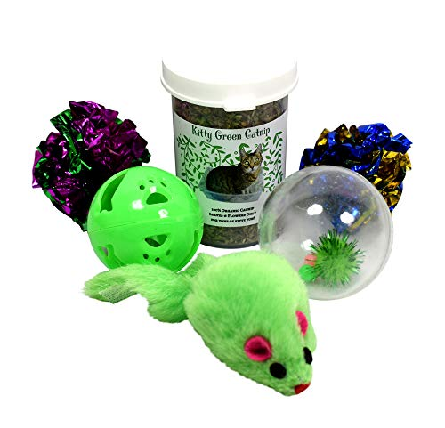 Organic Catnip Kit with Jingle Balls, Crinkle Toys, and a Plush Mouse The Perfect Cat Toy ()