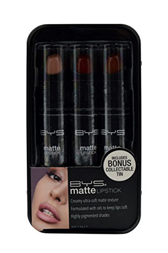 BYS Matte Lipsticks Trio in Bonus Keepsake Tin Travel Case, Nudes