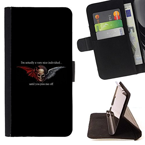 HTC U Ultra / Ocean Note Case - Colorful Pattern Flip Wallet Leather Holster Protective Skin Case Cover (Wings Black Devil Horns Angel Duality) (Htc Wing Solid Case)