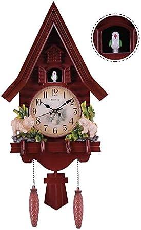 Reloj cucú de pared del cuarzo, inteligente Silencio en la noche de volumen ajustable, para niños Sala de Decoraciones, animales Tiempo de alarma de Bell oscilación,Rojo