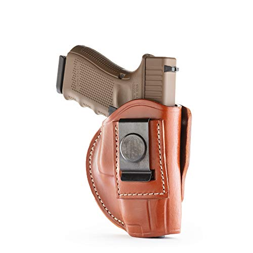1791 GUNLEATHER 4-Way Glock 19 Holster - OWB and IWB CCW Holster - Right Handed Leather Gun Holster - Fits G19, Beretta 92FS, Springfield XD9 & XD40, G17, 20, 21, 25, 31, 32, 38 (Classic Brown)