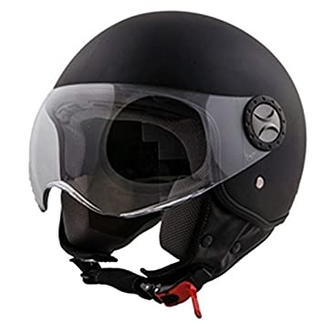 Casco jet Vito Loreto Chopper Roller Scooter Mate de Color Negro Mate de Black