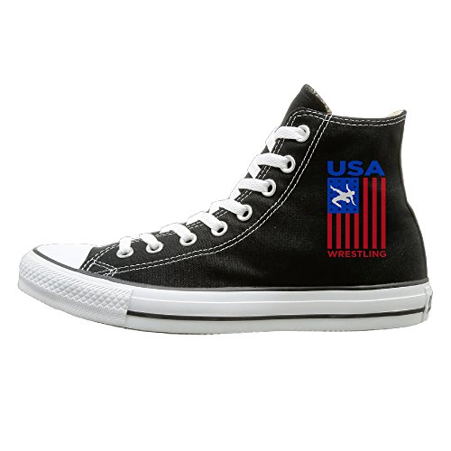 JHGG Usa Wrestling High Top Sneakers Canvas Shoes Fashion Sneakers Shoes Street Dance Unisex Style Size (Tennis Player Costumes)